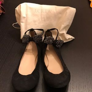 Jcrew black suede studded bow flats